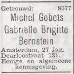 Bekendmaking van het huwelijk van Michel Gobets en Gabrielle Brigitte Bernstein_Het Joodsche Weekblad, 29 januari 1943