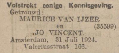 1_Huwelijk Jo Vincent - Maurice van IJzer - Algemeen Dagblad - 31-7-24
