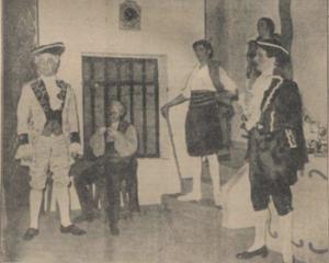 Heure Espagnole_maart 1938_v.ln.r. Joh. Lammen, Kees Smulders, Jos. Plemper, Judith Toff, Frans Vroons