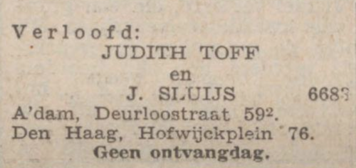 Verloving Judith Toff_Nieuw Israelisch Weekblad_28 april 1939