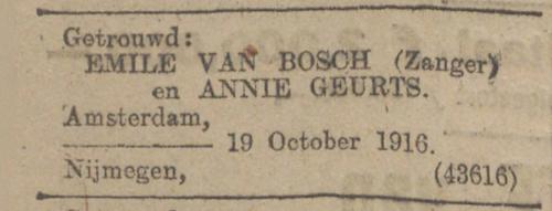 Huwelijk Emile van Bosch 19 oktober 1916