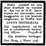 Overlijdensadvertentie Anton Sistermans