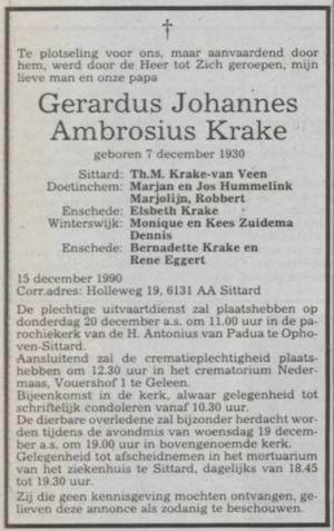 Overlijdensadvertentie Gerard Krake Limburgs Dagblad  18-12-1990