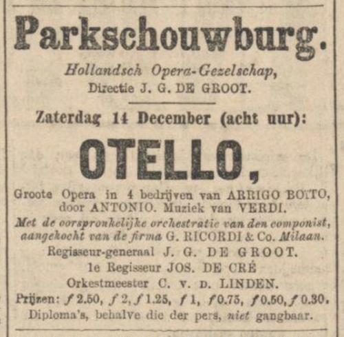 Otello Advertentie Algemeen Handelsblad 13-12-1889
