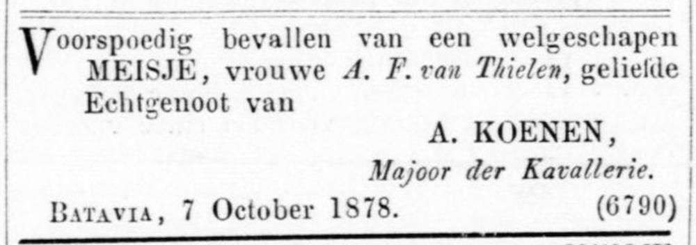 Tilly Koenen geboorte zus Albertine 1878