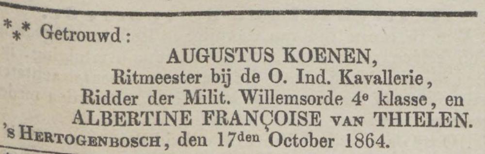 Tilly Koenen huwelijk ouder 1864