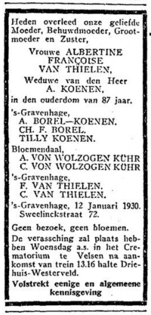 Tilly Koenen overlijden moeder 1930